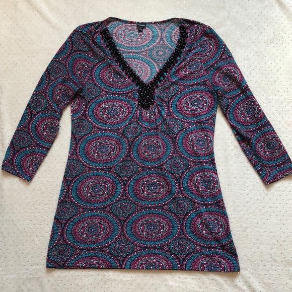 Rafaella Tops - Rafaella- Geometric Stretch Beaded Shirt - Size S